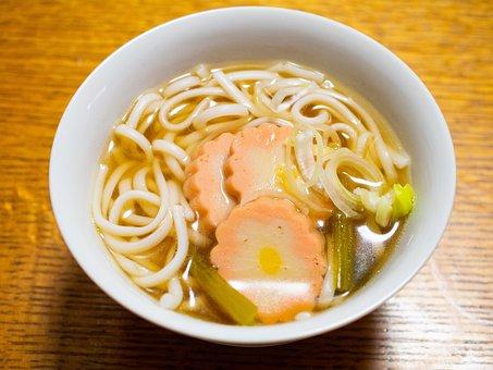 Udon Noodles, Noodles, Round, Soup, Food, Cuisine