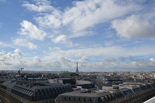 Paris, Landscape, Sky, France, City, Overview, Eiffel