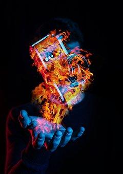 Fire, Camera, Photographer, Photography, Lens, Black