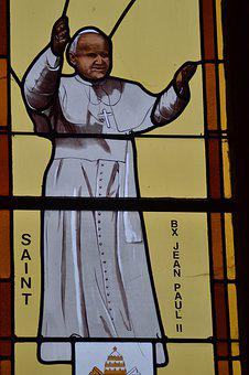 Stained Glass, Window, Church, Saint, Pope