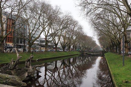 Düsseldorf, Road, City, Human, River, Nature