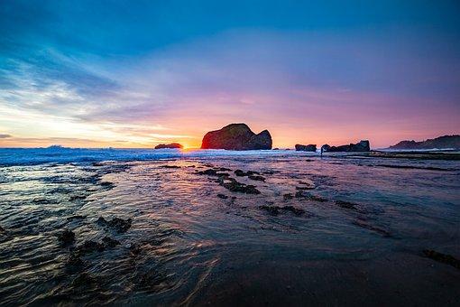 Landscape, Coast, Rock, Sunset, Wave, Fisherman