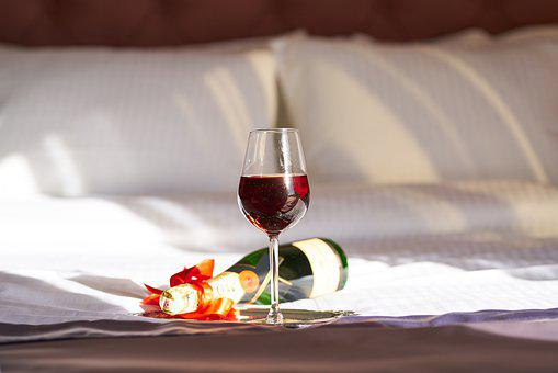 Wine, A Toast, Red, Bottle, Bed, Romantic