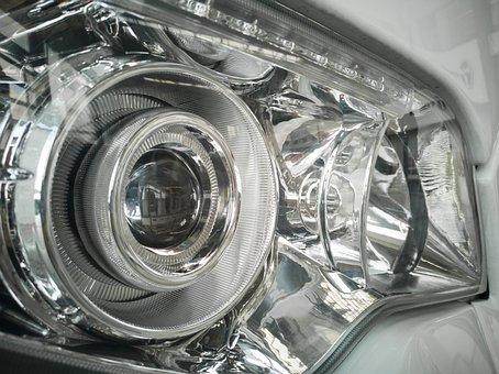 Car, Headlight, Light, Glass, Reflection, Night, Signal