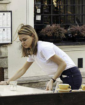 Girl, Young, The Waiter, Blonde, Hair, Long, T-shirt