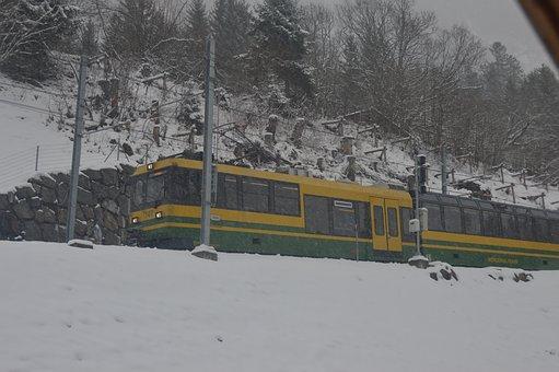 Wab, Wengen, Trail, Railway, Snow, Transport, Mountain