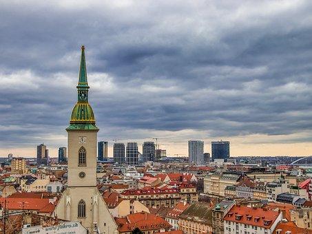 Bratislava, View, Slovakia, Danube, Castle, River, City