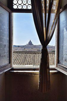 Outlook, Open Window, Window, Curtain, Rome, Italy