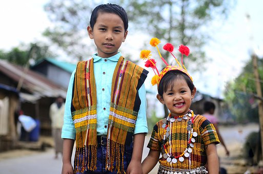 Baby's, Happy, Children, Two, Traditional, Dress, Human