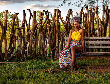 Lady, Woman, Logs, Bench, African Traditional Dress