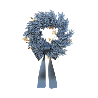 Christmas, Wreath, Blue, Ribbon