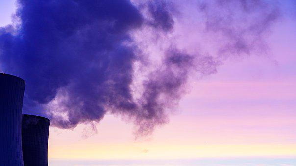 Nuclear Power Plant, Cooling Towers, Steam, Smoke