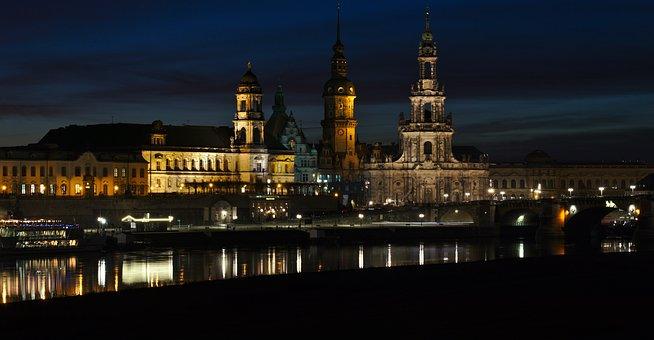 Dresden, City, Skyline, Night, Cityscape, Architecture