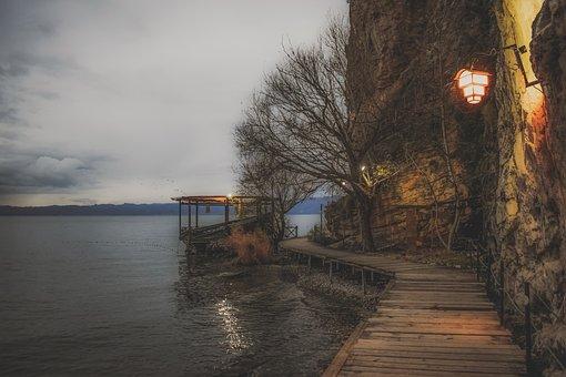 Footpath, Wooden, Lake, Morning, Winter, Landscape