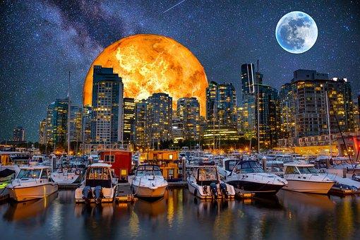 Vancouver, Galaxy, Moon, Night, Universe, Planet