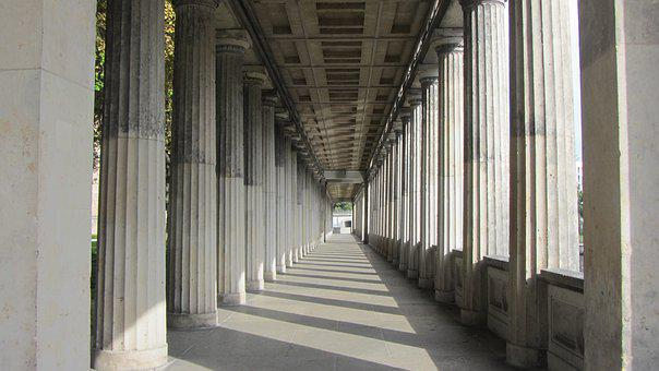 Arcade, Gang, Architecture, Building, Columnar, Light