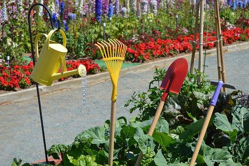 Garden, Garden Tools, Watering Can, Rake, Shovel, Hoe