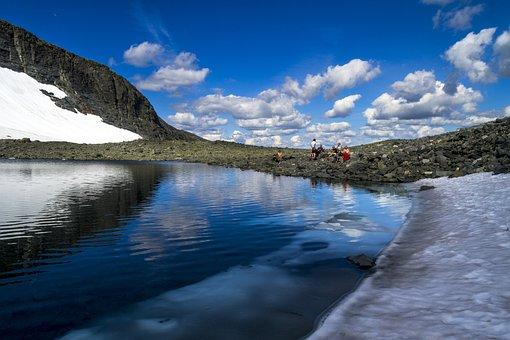 Mountain, Lake, People, Hiking, Adventure, Snow, Water