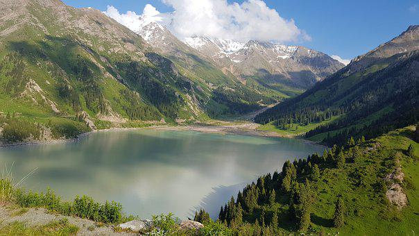 Almaty, Lake, Mountains, Clouds, Nature, Kazakhstan