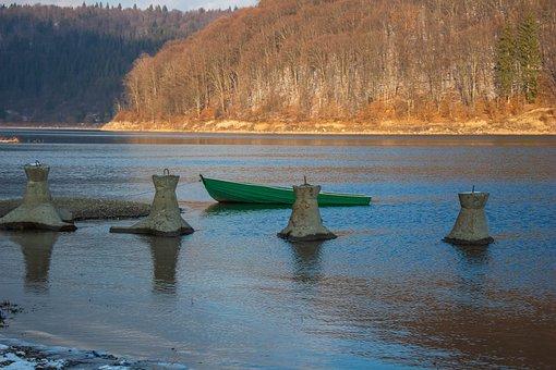 Winter, Lake, Nature, Water, Boat, Transylvania