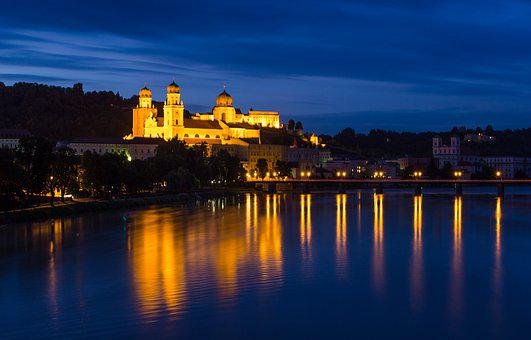 Passau, Night, Architecture, Episcopal See, Evening