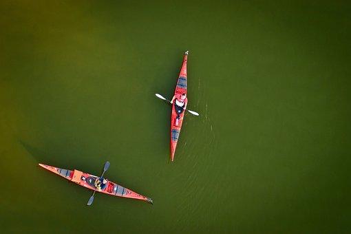 River, Kayak, Team, Couple, Afloat, Sport, Paddle