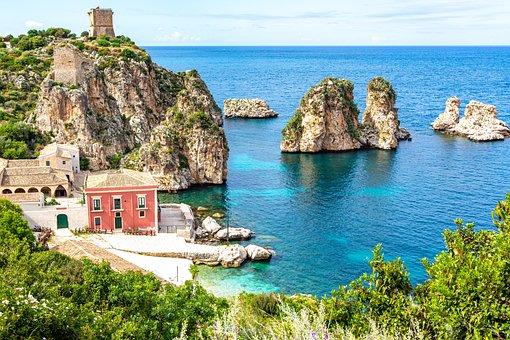 Italy, Sicily, Landscape, Holidays, Sea, Sky, Romantic