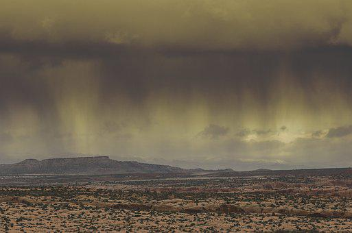 Storm, Rain, Desert, Weather, Thunderstorm, Sky, Clouds