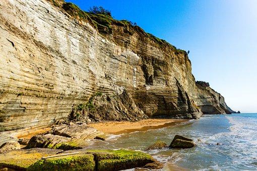 Greece, Corfu, Cliff, Logas Beach, Sea, Sky, Summer