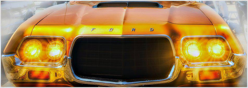 Ford, Spotlight, Auto, Vehicle, Pkw, Usa, Chrome