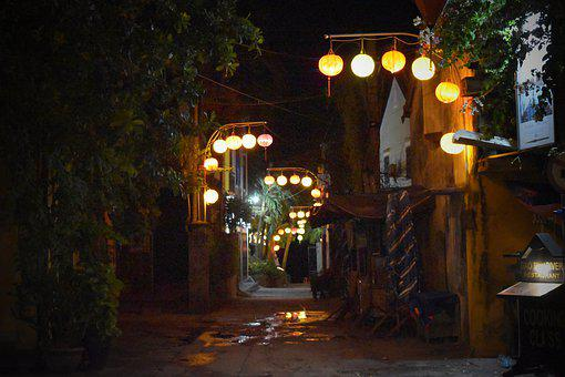 Vietnam, Night, Road, Street, Way, Lamp, Lantern