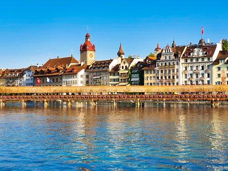 Lucerne, Switzerland, City, Tourism, Bridge, Water