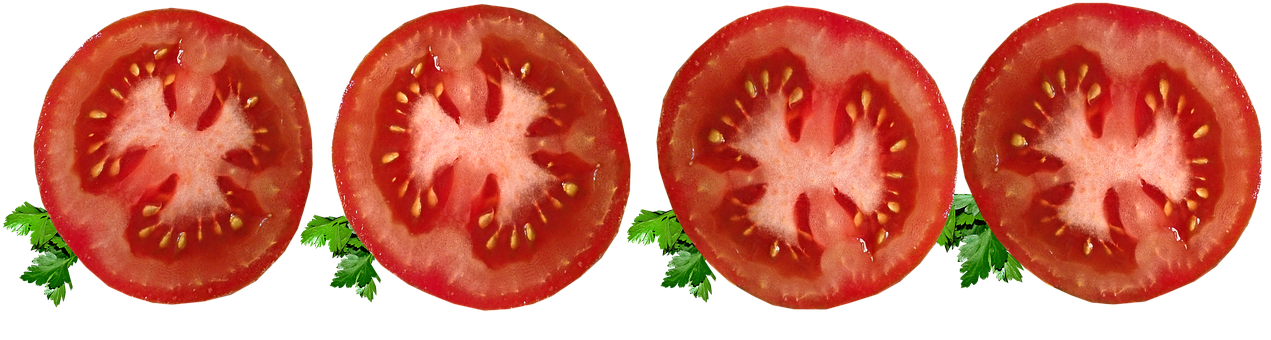 Tomatoes, Vegetables, Food, Sliced, Parsley, Cut Out