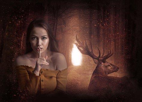 Fantasy, Gothic, Dark, Wood, Light, Trees, Woman, Girl