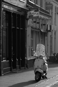 Roller, Motor Scooter, Road, Black And White, Vespa