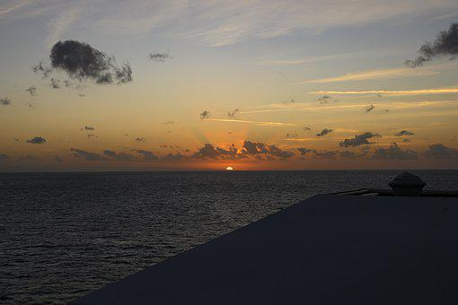 Sunset, Vacations, Sea, Sky, Water, Nature, Tropical