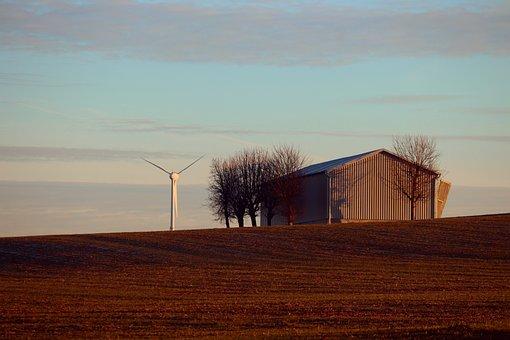 Barn, Field, Wind Turbine, Arable, Autumn, Sky, Trees
