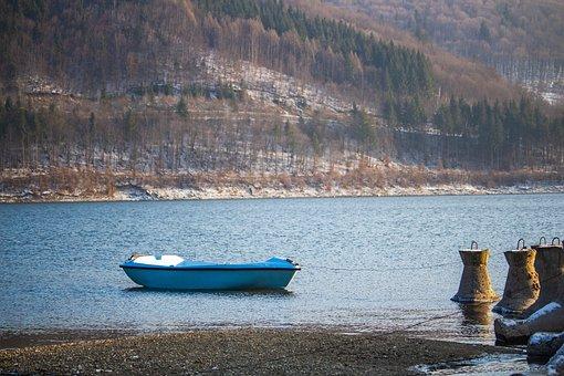 Winter, Lake, Nature, Water, Boat