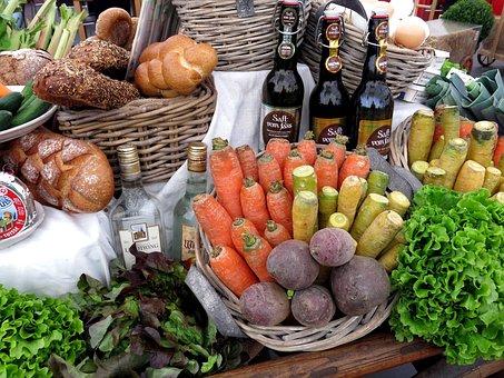 Bread, Vegetables, Basket, Cook, Ingredients, Eat