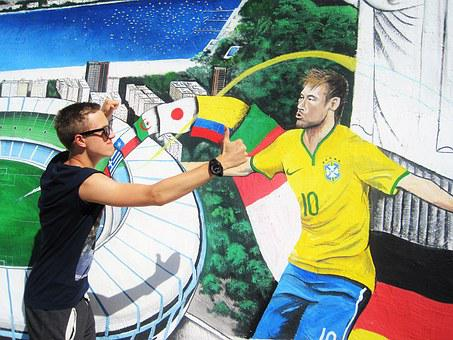 Brazil Germany, Götze Against Neymar, Rio, Mural