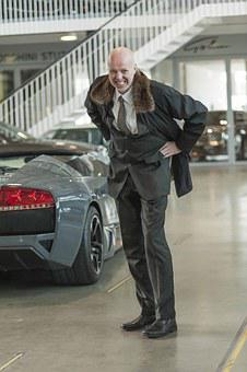 Businessman, Coat, Auto, Lamborghini, Black, Sports Car