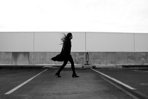 Girl, Woman, Model, Fashion, Coat, Boots, Heels, Windy
