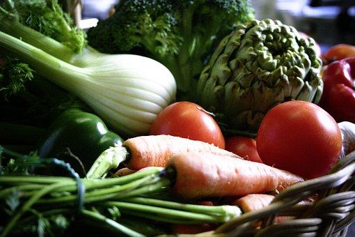 Vegetables, Basket, Carrots, Tomatoes, Fennel