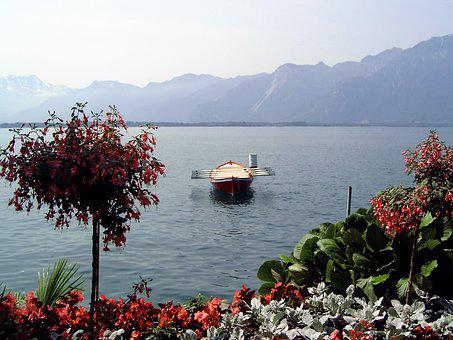 More, Water, Switzerland, Rowing Boat, Flowers