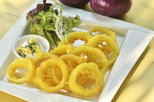 Squid Rings, Fried, Deep Fried, Onion Rings, Food