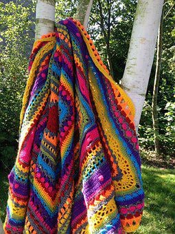 Blanket, Colors, Hooks, Hand Made, Knitted Fabric