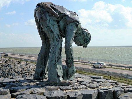 Labor, Worker, Work, Enclosing Dyke, Netherlands, Dyke