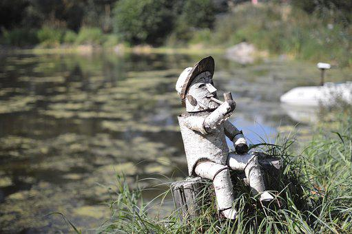 Little Man, Wood Doll, Water, Lake, Pond