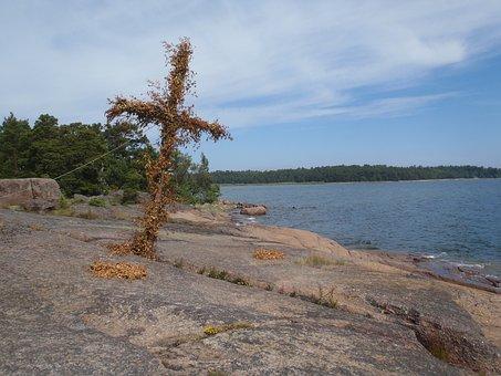 Cross, Archipelago, Sweden, Coast, Landscape, Sea