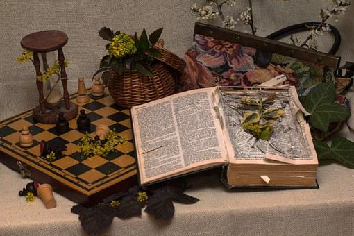 Still Life, Old Book, Hourglass, Mood, Chess Board